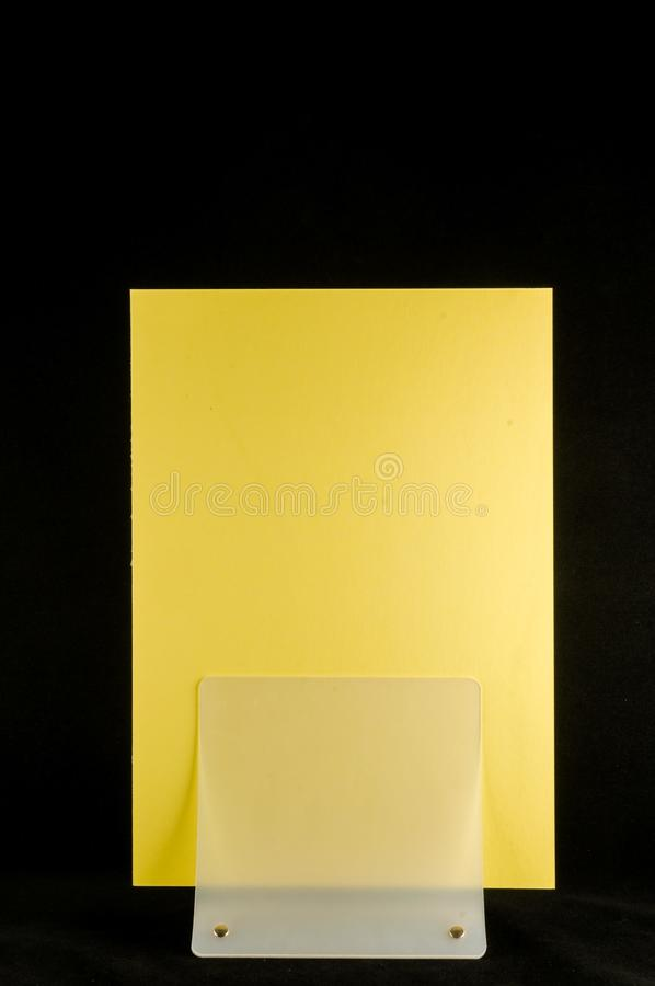 Blank flyer mockup paper holder isolated. Plain flier stand Clear brochure holding stock photos