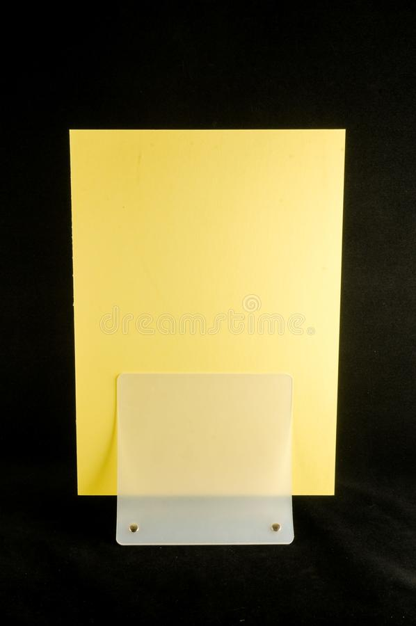 Blank flyer mockup paper holder. Plain flier stand Clear brochure holding royalty free stock image