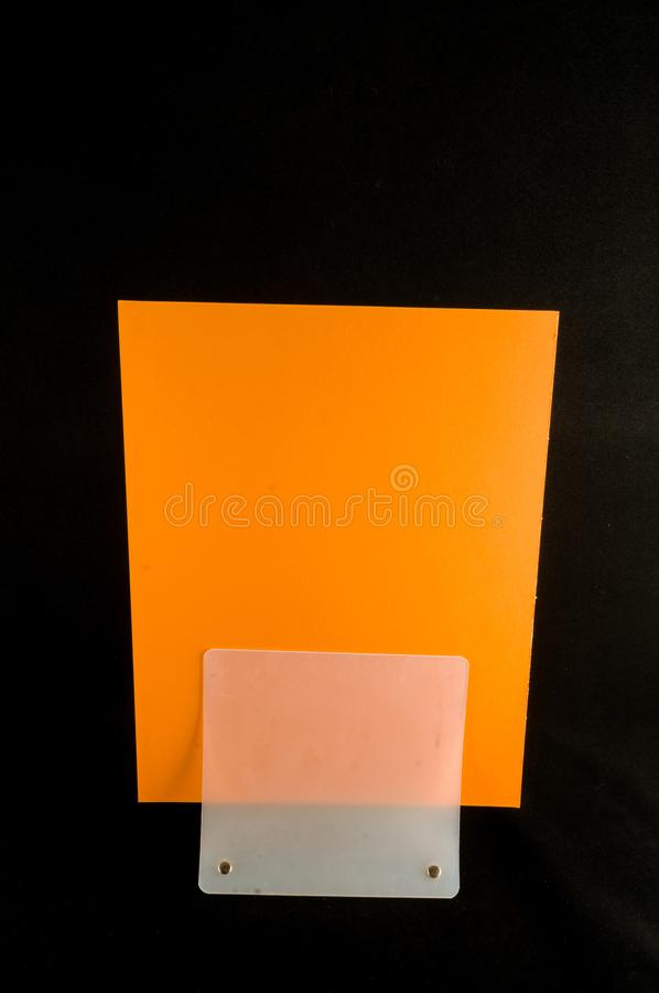 Blank flyer mockup paper holder isolated stock photos