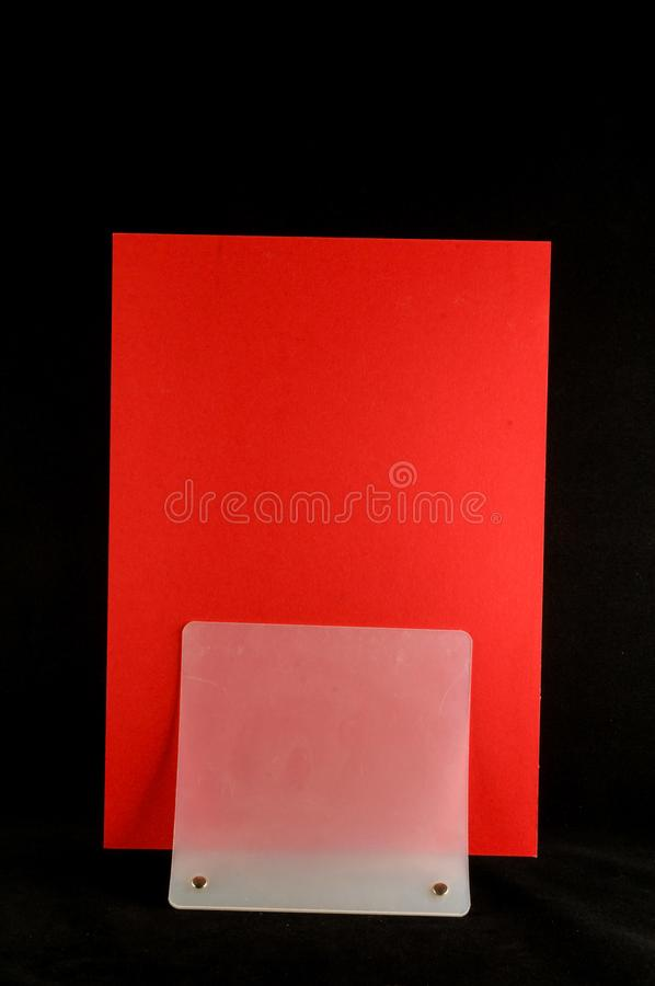 Blank flyer mockup paper holder isolated. Plain flier stand Clear brochure holding stock photography