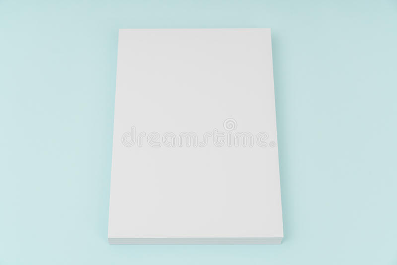 Blank flyer poster, brochure mockup,A4, US-Letter, on blue backg. Round royalty free stock photos