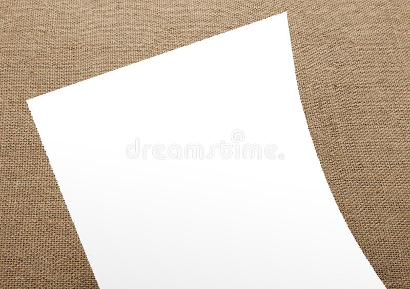 Blank flyer poster on burlap background to replace your design. Blank flyer poster on burlap background to replace your design royalty free stock photography