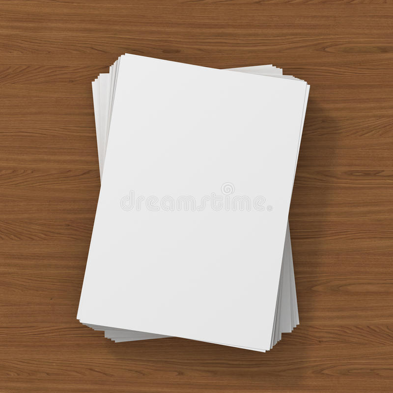 Blank flyer poster on wood to replace. Your design stock illustration