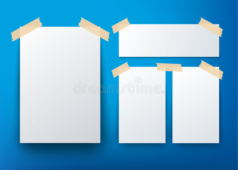 Blank Flyer Template Over Blue Background Stock Vector