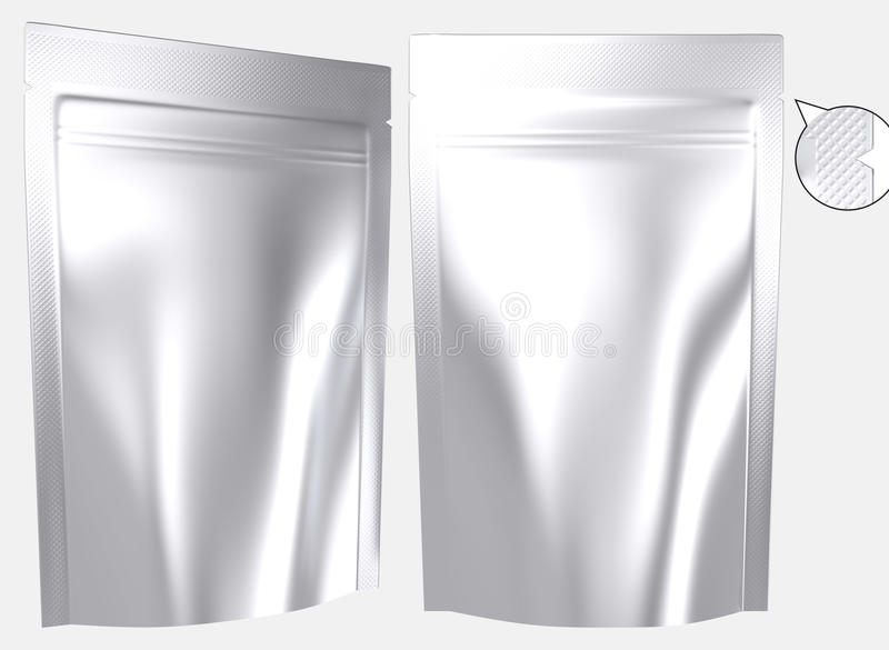 Blank foil resealable standing plastic bag royalty free illustration