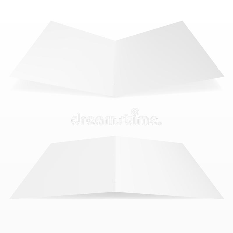 Blank Fold Paper Leaflet, Flyer, Broadsheet, Flier, Follicle, Leaf A4 With Shadows. On White Background Isolated. Mock Up Template Ready For Your Design stock illustration