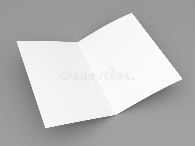 Blank folded flyer, booklet, postcard, business card or brochure stock illustration
