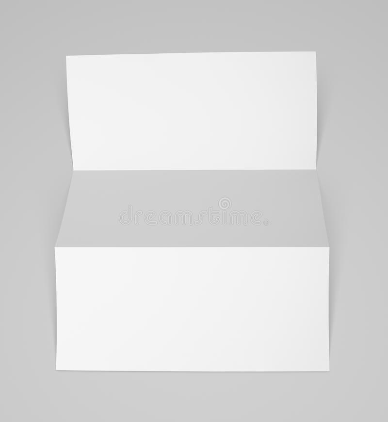 Blank folded flyer on gray. Empty fold flyer on gray with clipping path stock photos