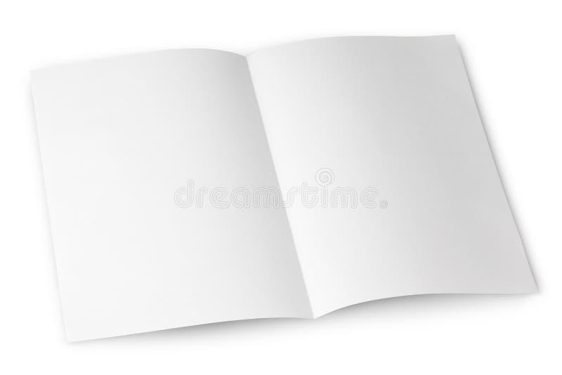 Blank folded flyer on white royalty free stock photos