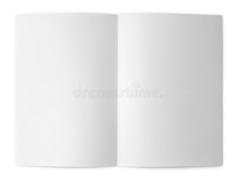Blank folded flyer on white stock photo