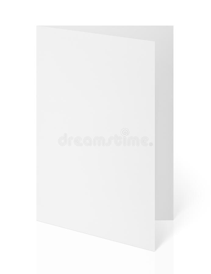 Blank folded flyer on white royalty free stock photography