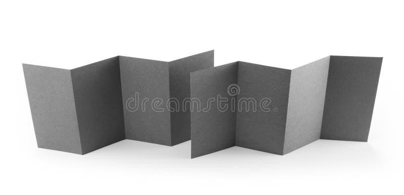 Blank folded paper leaflet or flyer mockup. stock photos