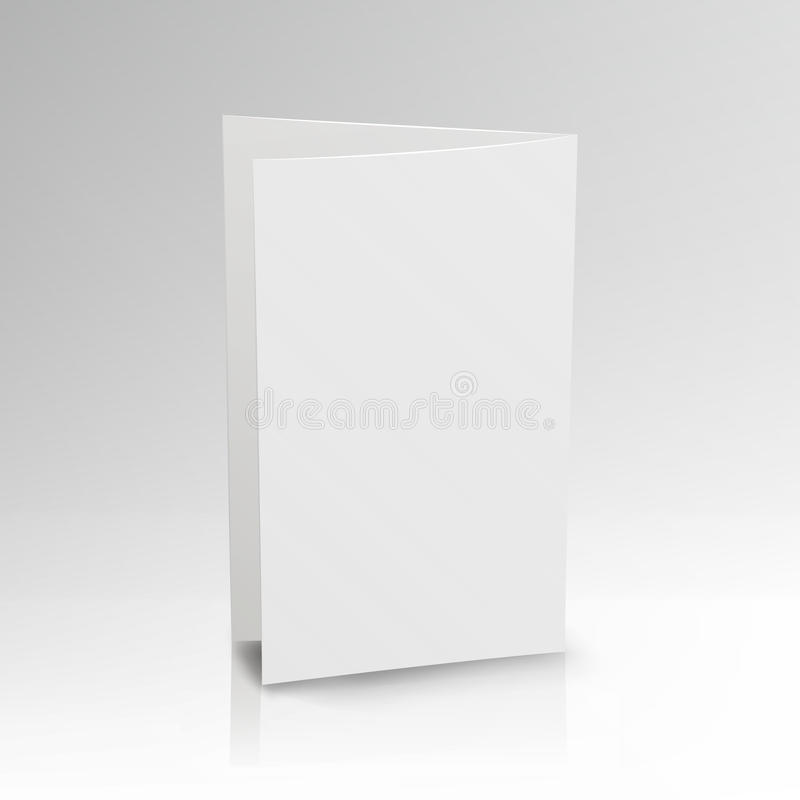 Blank Folder White Leaflet. Vector 3D Mockup. Realistic Paper Brochure. Empty Paper Mockup Illustration vector illustration