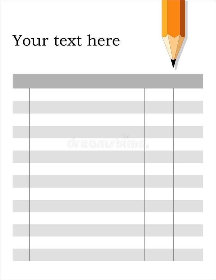 Blank Form, White Background royalty free illustration