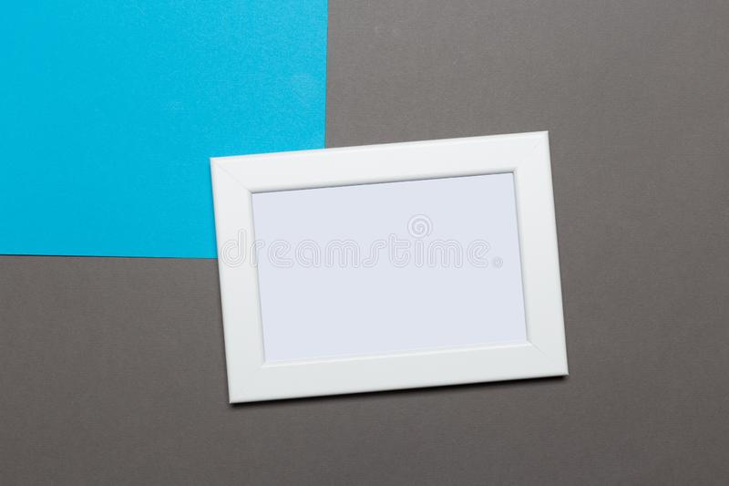 Blank frame on a blue and gray background stock photo