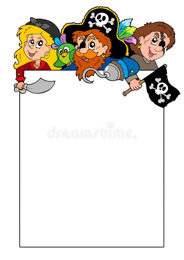 Blank Frame With Cartoon Pirates Royalty Free Stock Images