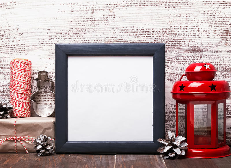Blank Frame Craft Style Christmas Decor And Red Lantern