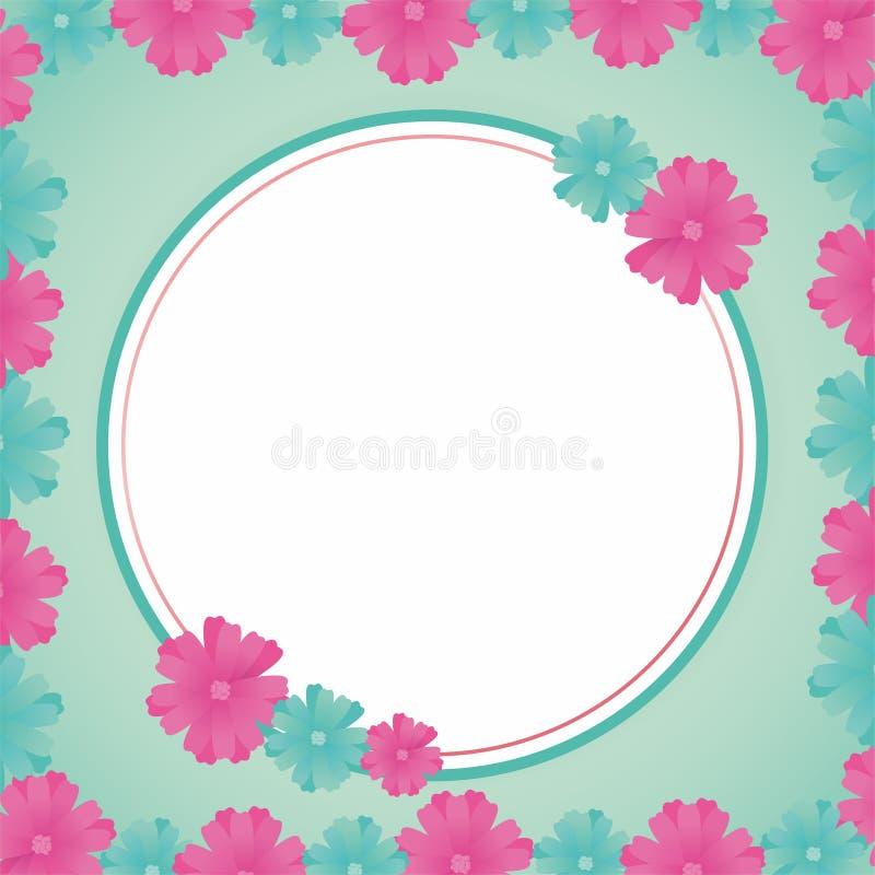 Blank Frame Design With Flowers. Flower frame design, border design template for card greeting or photo frame with pink color vector illustration