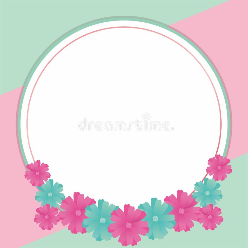 Blank Frame Design With Flowers. Flower frame design, border design template for card greeting or photo frame with pink and tosca color vector illustration