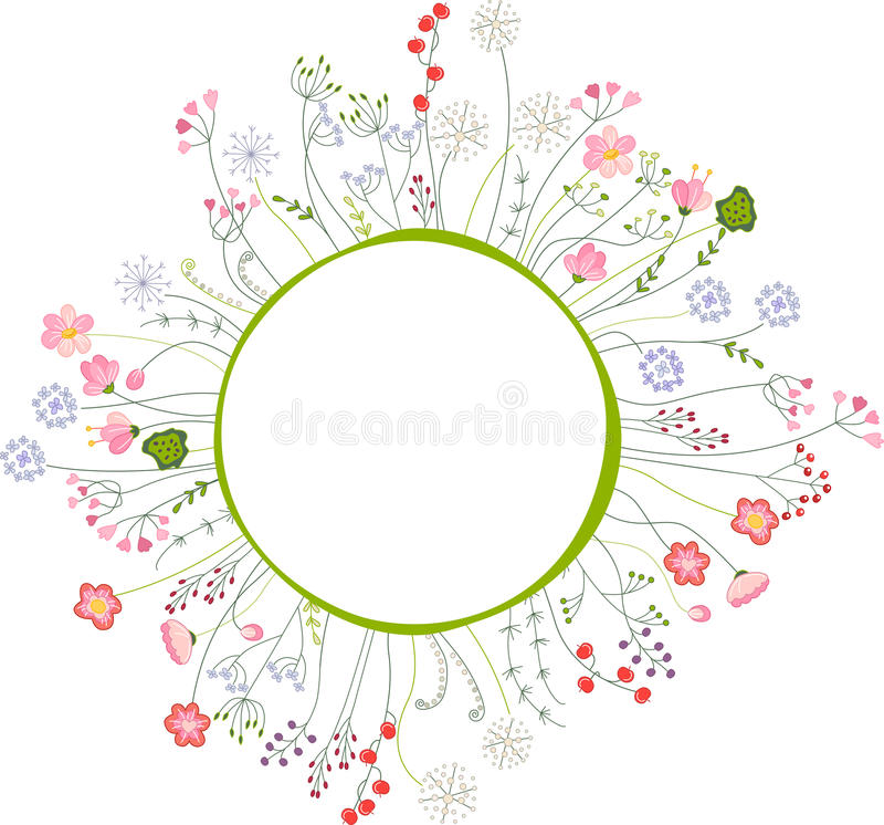 Blank frame with different flowers and herbs stock illustration