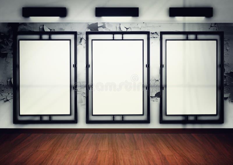 Blank frame in gallery. 3d render vector illustration