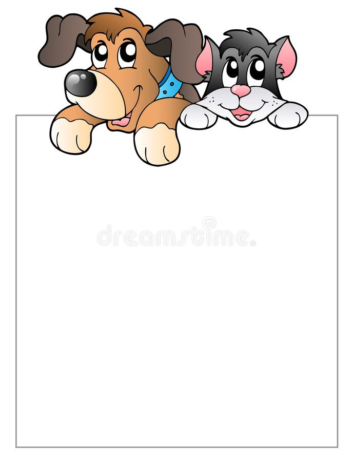 Blank Frame With Lurking Pets Royalty Free Stock Photos