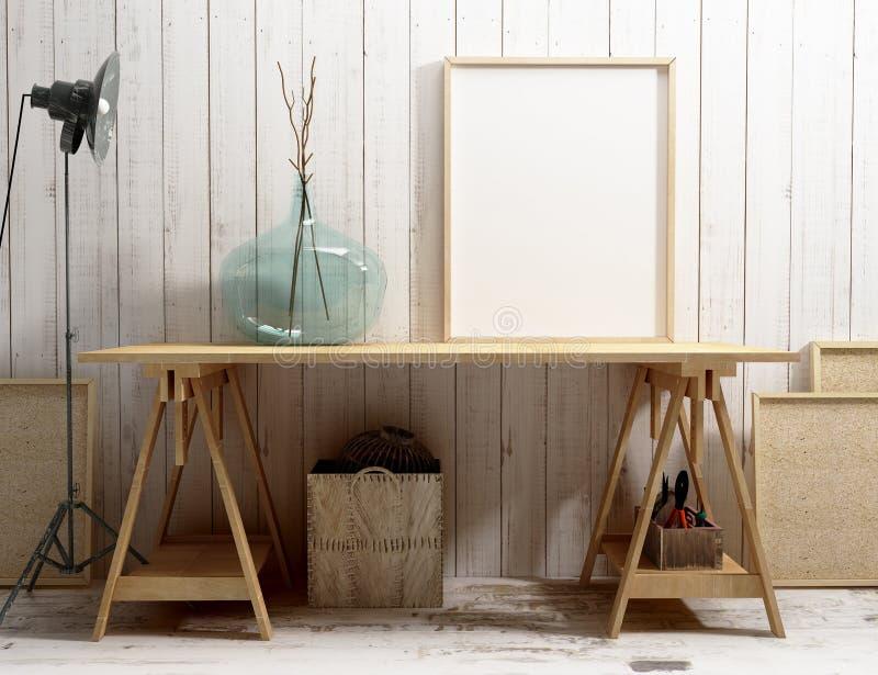Blank frame mockup on the desk royalty free illustration