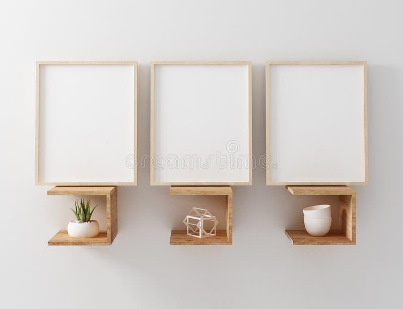 Blank frame mockup hang on wooden floating shelf royalty free illustration