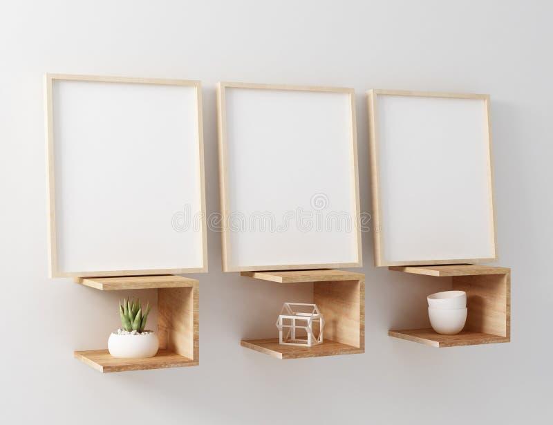 blank frame mockup hang wooden floating shelf unique
