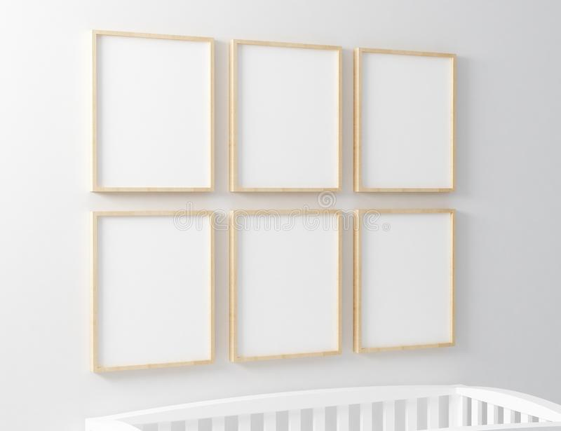 Blank Frame Nursery Mockup with baby cot. Blank mockup with baby cot royalty free stock photos