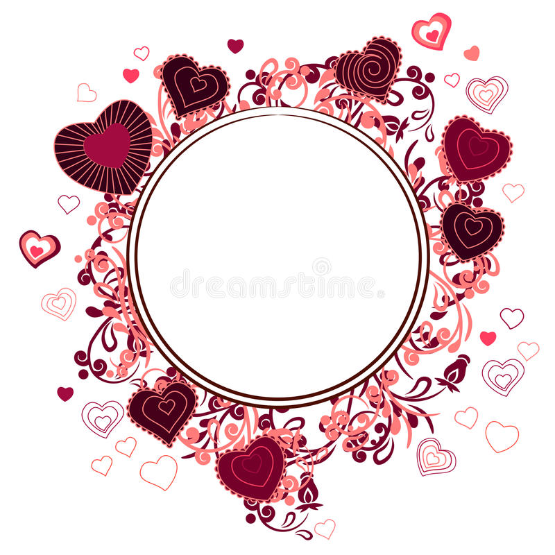 Blank frame with small hearts stock illustration