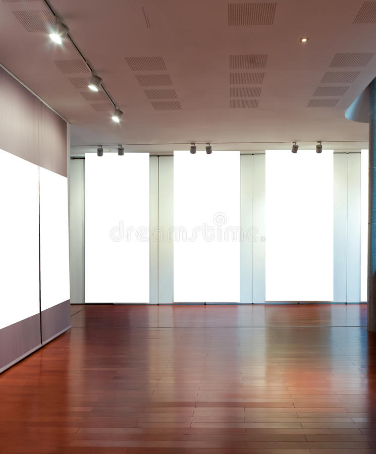 Blank frame on the wall at art gallery stock photos