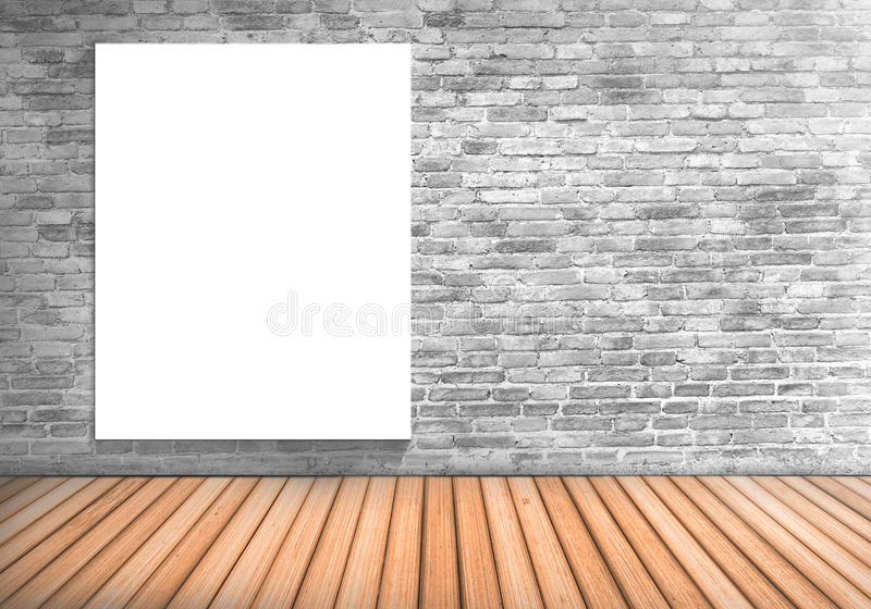 Blank frame white board on a concrete blick wall and wooden floor : fill text and object royalty free stock photography