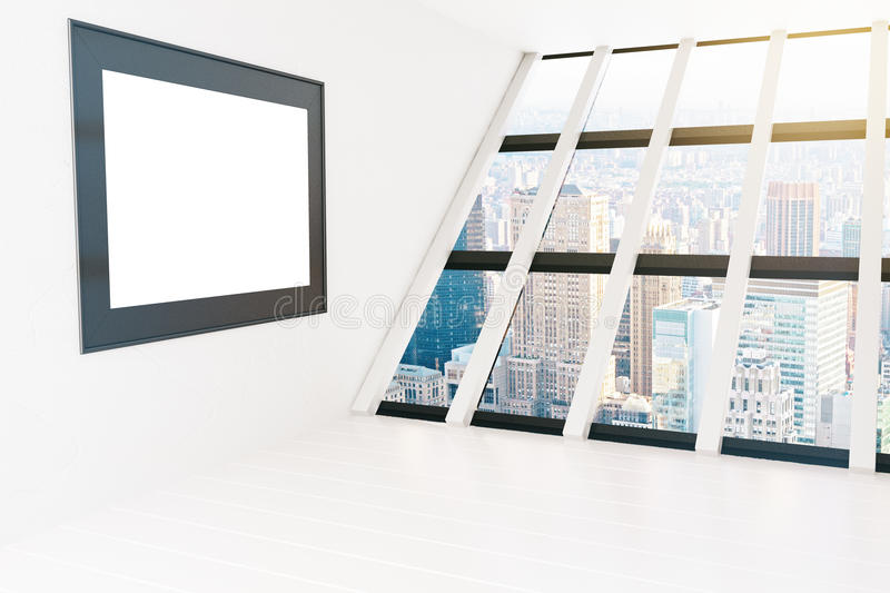 Blank frame white room. Blank frame in white interior with panoramic windows and city view. Mock up, 3D Rendering stock illustration