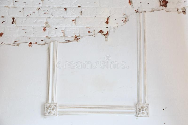 Blank frame on white wall. stock photo