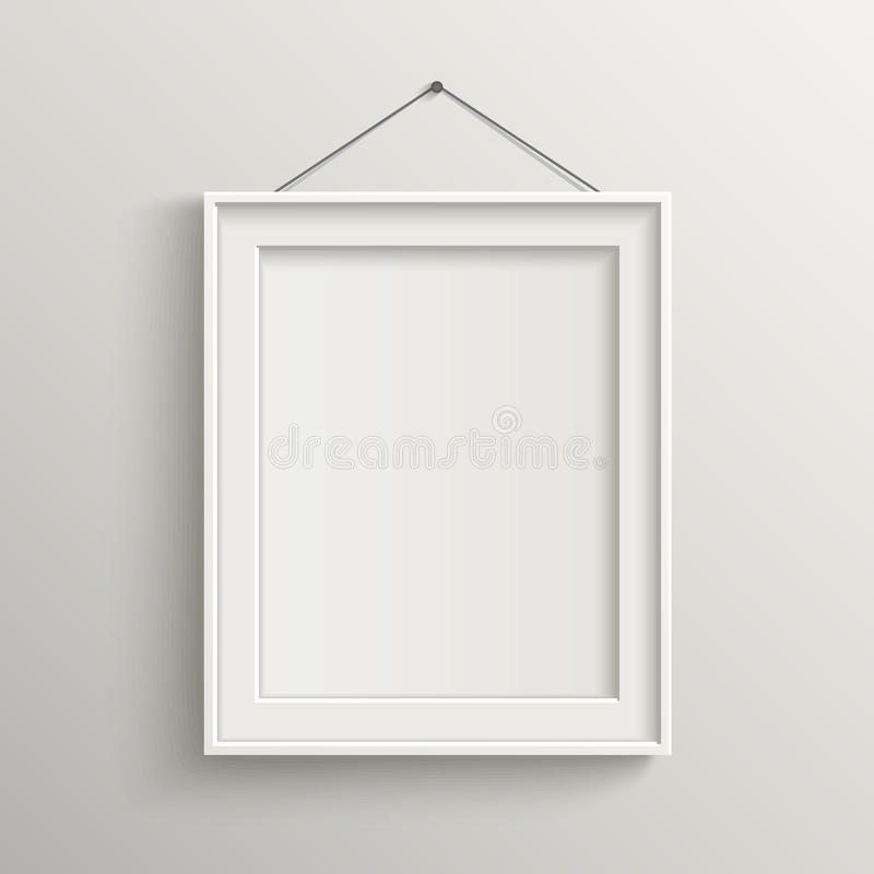 Blank frame on white wall with shadow stock illustration