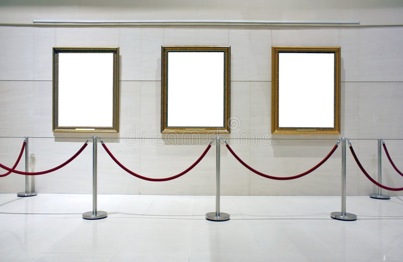 Blank Framed Canvas In An Exhibition Stock Images