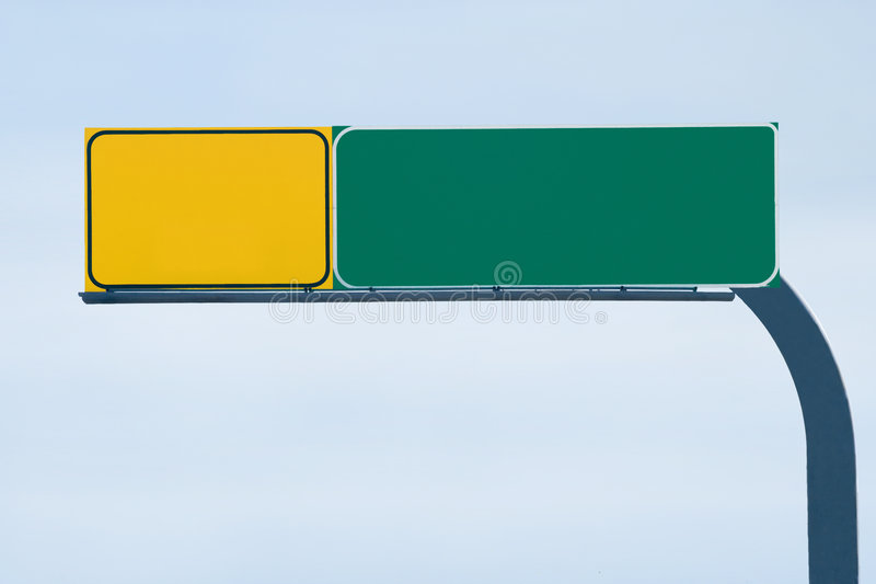 Blank freeway sign. Ready for your custom text royalty free stock photography