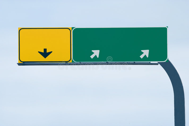 Blank freeway sign. Ready for your custom text royalty free stock images