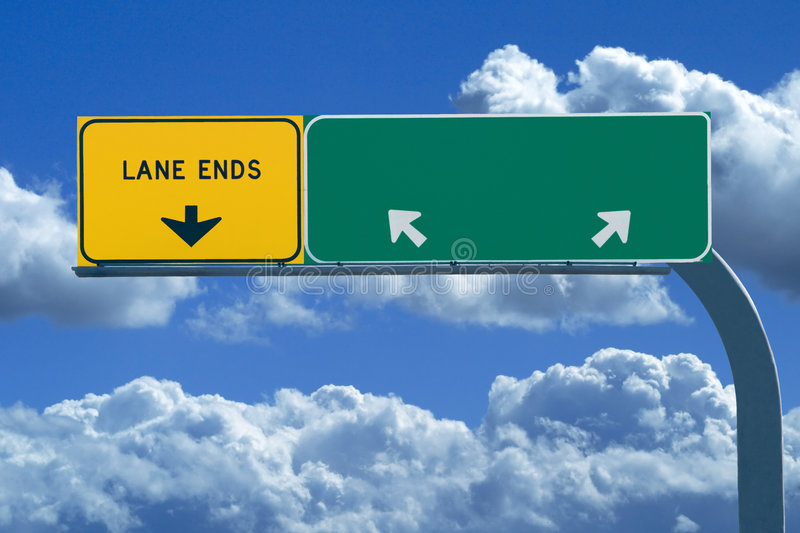 Blank freeway sign in blue cloudy skies. Blank freeway sign ready for your custom text royalty free stock image