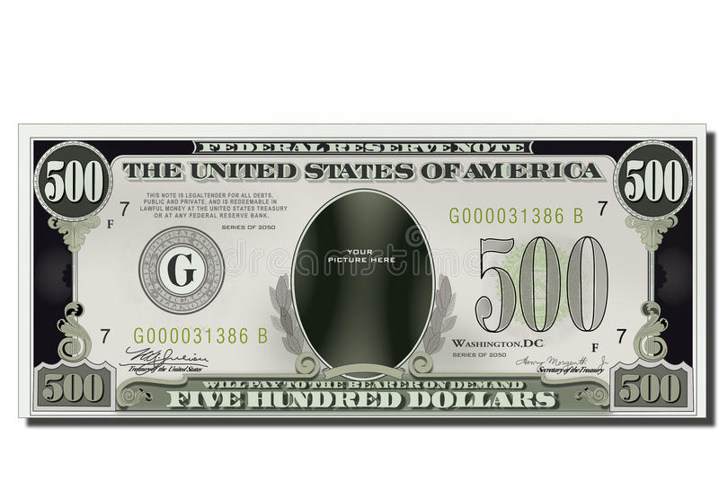 Blank Funny 500 Dollars Usa Banknote royalty free stock photo