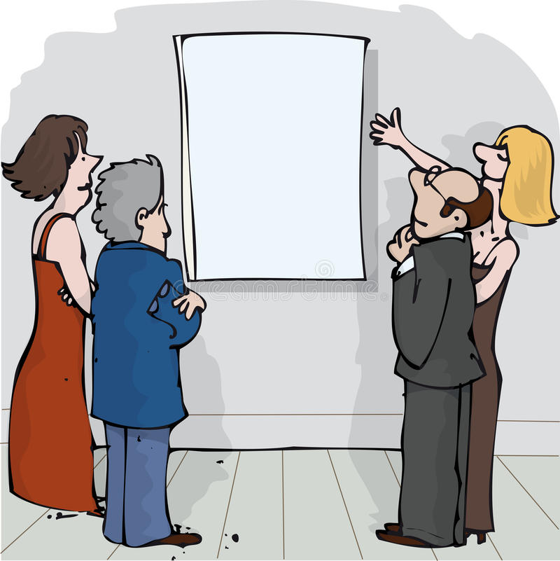Blank Gallery. Two couples looking at a blank canvas vector illustration
