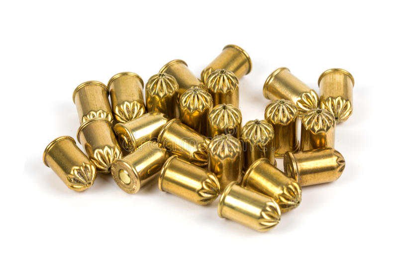 Blank and gas cartridges for pistols royalty free stock images