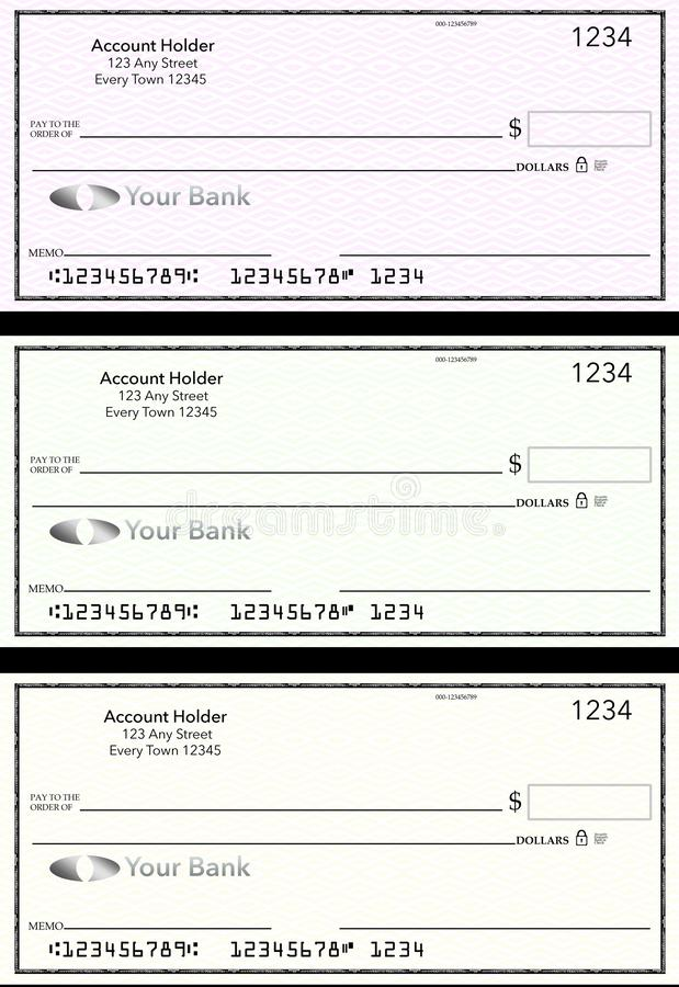 Free Blank Generic Bank Checks, Three Of Them In Different Colors Are Isolated On The Background Stock Images - 137249244