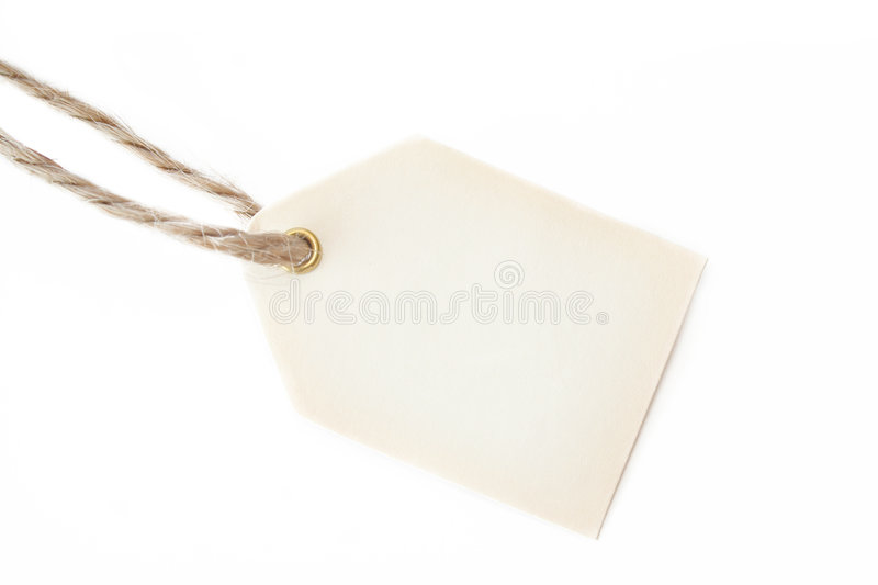 Blank gift tag and String. Blank gift tag with an old piece of string and shot on a white background. Room for text stock images