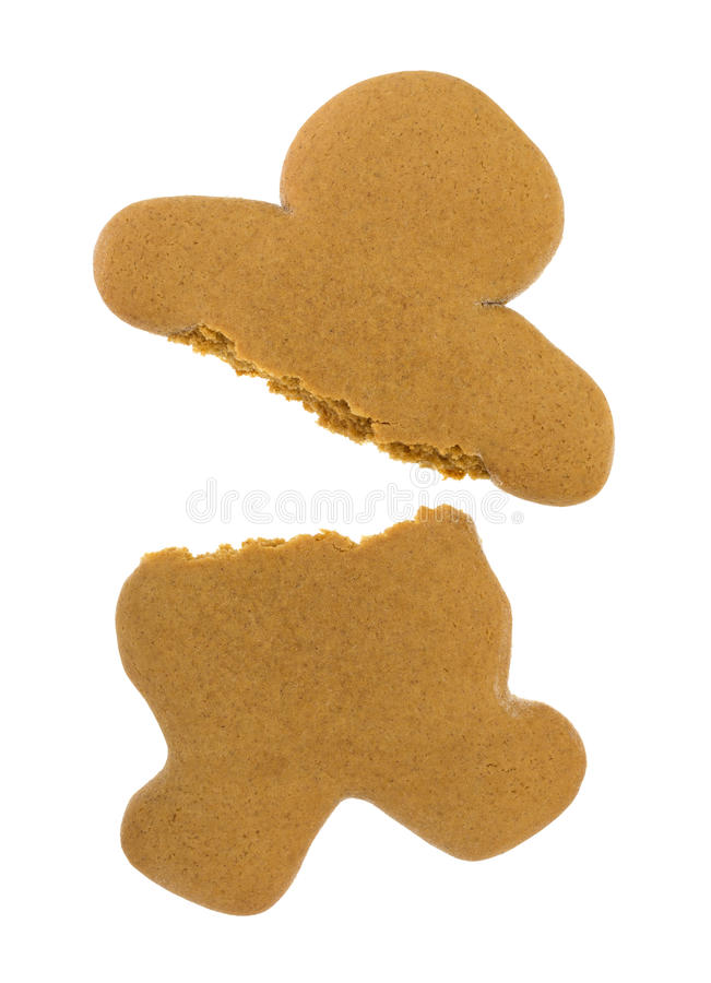 Blank gingerbread man cookie broken stock image