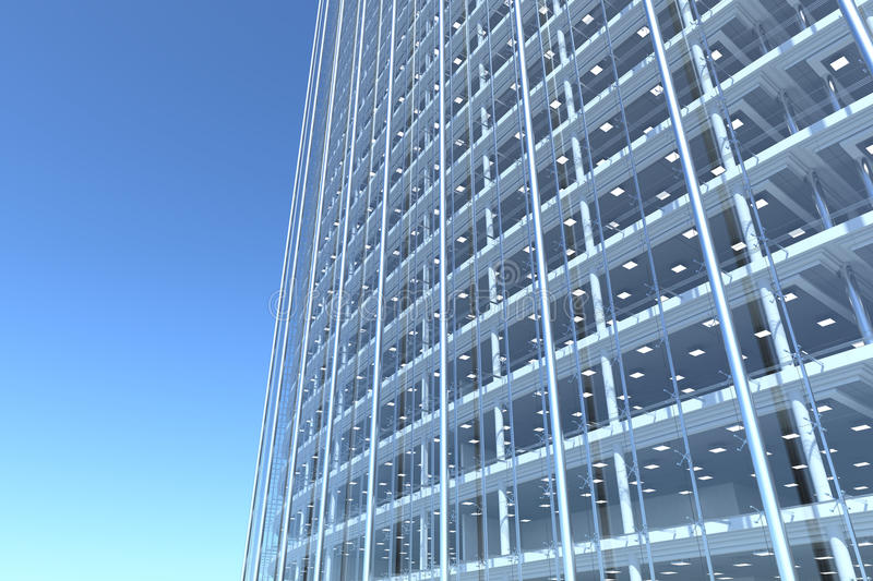 Glass Facade Of Office Building Royalty Free Stock Image: Blank Glass Facade Of Curved Office Building Stock