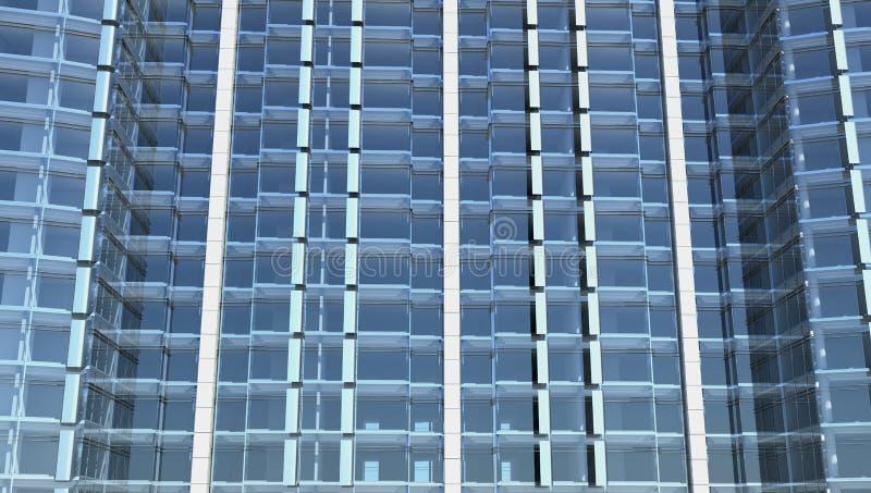 Blank glass facade of office building stock illustration