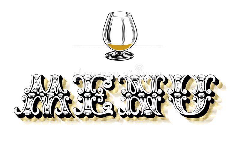 blank glass menywine stock illustrationer