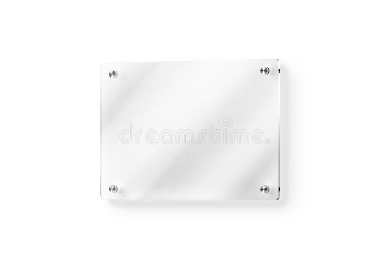 Blank Glass Name Plate Wall Mounted Mockup Clipping Path